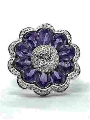 FLORAL 10K GOLD 3 TCW AMETHYST DIAMONDS COCKTAIL RING
