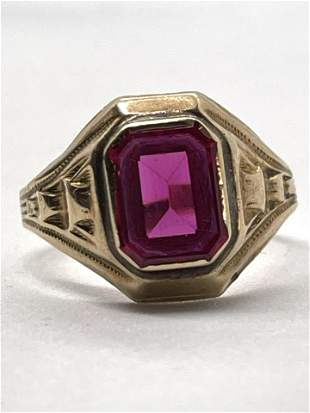 ART DECO 10K GOLD 2 CT RUBY FILIGREE RING
