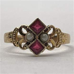 VICTORIAN 10K GOLD RED STONES & PEARL RING SZ 6