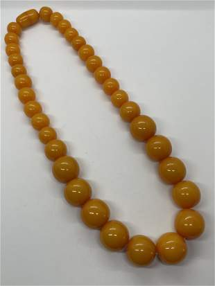 RARE 1000 TCW NATURAL EGG YOLK AMBER COCKTAIL NECKLACE
