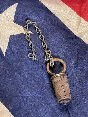 RARE CIVIL WAR CANTEEN STOPPER WITH CHAIN