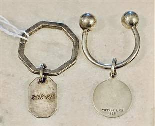 TIFFANY & CO. STERLING SILVER LOT OF (2) KEY-CHAINS