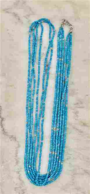 STERLING SILVER BEADED TURQUOISE COCKTAIL NECKLACE