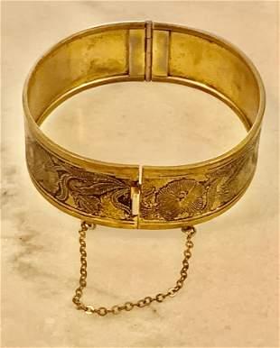 ANTIQUE VICTORIAN FLORAL GOLD FILLED BANGLE BRACELET