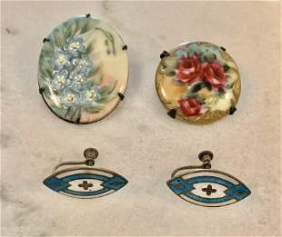 ANTIQUE VICTORIAN EARRINGS & BROOCHES
