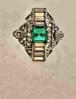 ART DECO STERLING SILVER GREEN STONE FILIGREE RING SZ