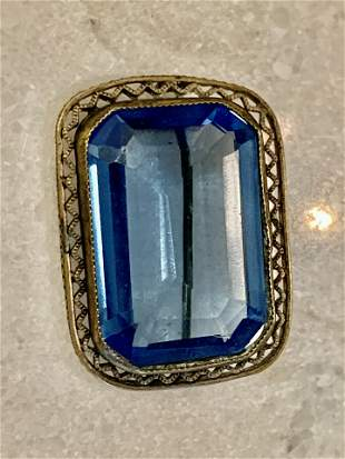 ANTIQUE STERLING SILVER LARGE BLUE STONE BROOCH