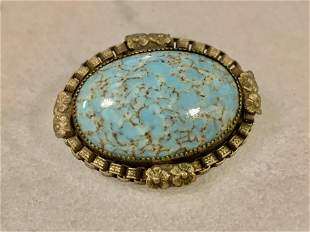 ANTIQUE TURQUOISE COCKTAIL BROOCH