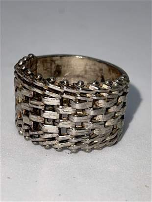 STERLING SILVER LADIES MESH DESIGN BAND SZ 7