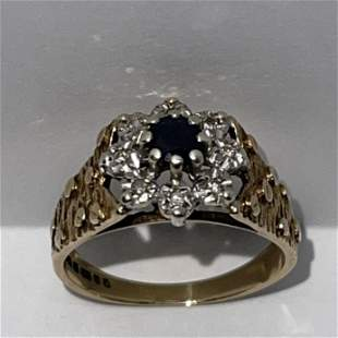 ANTIQUE ENGLIST 9K .375 GOLD SAPPHIRE/DIAMOND RING