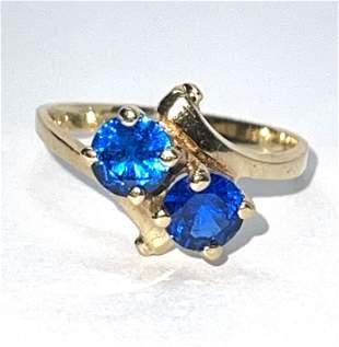ANTIQUE 10K GOLD BLUE STONES COCKTAIL RING SZ 6