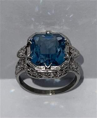 ART DECO 14K GOLD 7 CT BLUE TOPAZ FILIGREE RING SZ 7