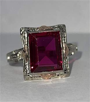ART DECO 14K GOLD 3 CT BLOOD RED RUBY FILIGREE RING SZ