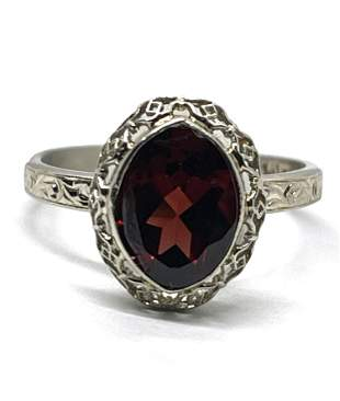 ART DECO 14K GOLD 1 CT RED STONE FILIGREE RING SZ 6.5