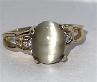 10K GOLD GEMSTONE & DIAMOND COCKTAIL RING SZ 6.5