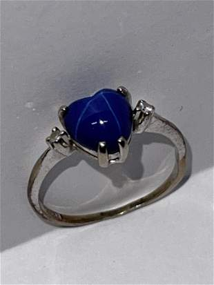 14K GOLD 3/4 CT HEART STAR SAPPHIRE & DIAMONDS RING