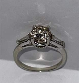 ART DECO 14K GOLD 1 CT EURO DIAMOND RING SZ 6