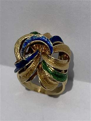 ANTIQUE 14K GOLD ENAMEL COCKTAIL RING SZ 5, 6.6 GRAMS.