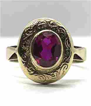 ART DECO 14K GOLD 1 CT BLOOD RED RUBY RING SZ 7.25