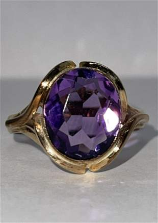 ART DECO 14K GOLD 4 CT AMETHYST COCKTAIL RING SZ 7