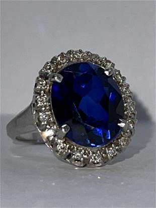14K GOLD 5 CT SAPPHIRE & DIAMONDS COCKTAIL RING SZ 7