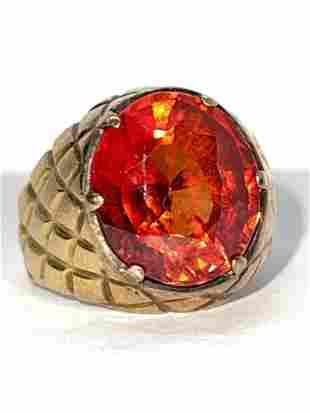 MENS 14K GOLD 8 CT RED ORANGE RUBY RING SZ 8