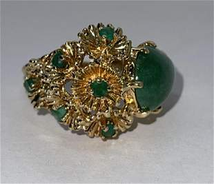 14K GOLD LARGE JADE AND EMERALDS COCKTAIL RING SZ 7.5