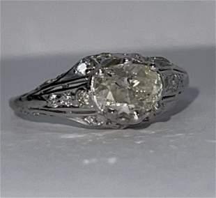 ART DECO 0.80 CT I, J-K DIAMOND 14K FILIGREE RING SZ 7