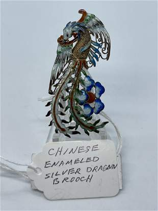 ANTIQUE CHINESE SILVER ENAMELED DRAGON BROOCH