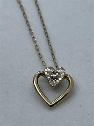 BEAUTIFUL 14K GOLD DIAMOND HEART NECKLACE