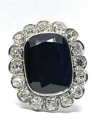 ART DECO PLATINUM 12.5 CT SAPPHIRE 3.20 TCW DIAMONDS