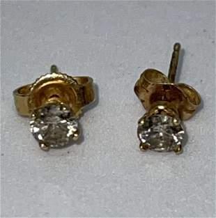 STUNNING 14K GOLD 0.40 TCW DIAMONDS STUDS EARRINGS