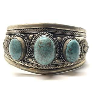 ANTIQUE NATIVE AMERICAN MOTIF TURQUOISE CUFF BANGLE
