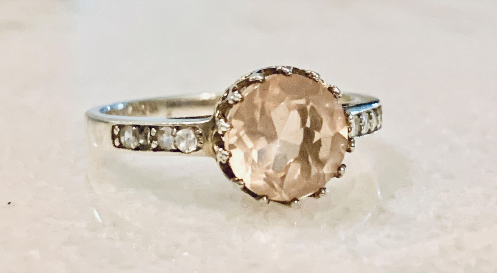 MODERN STERLING SILVER PINK STONE COCKTAIL RING SZ 8.5