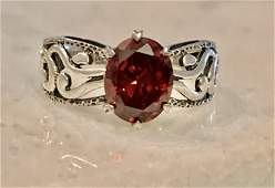 MODERN STERLING SILVER RED STONE COCKTAIL RING SZ 8.5