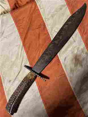 CIVIL WAR CONFEDERATE STAG HANDLE CLIP POINT BOWIE