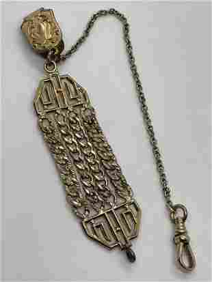 VICTORIAN GOLD FILLED POCKET WATCH FOB W/CHAIN