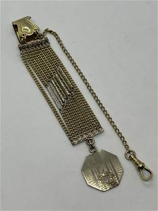 ART DECO GOLD FILLED POCKET WATCH FILIGREE FOB WITH