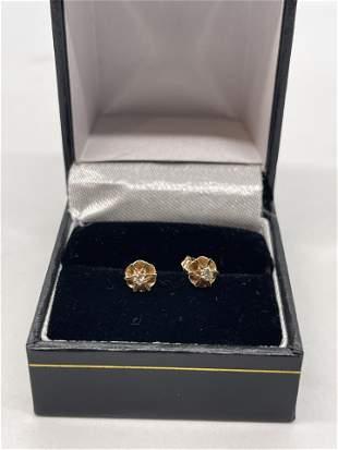 VICTORIAN 14K GOLD DIAMONDS STUDS EARRINGS