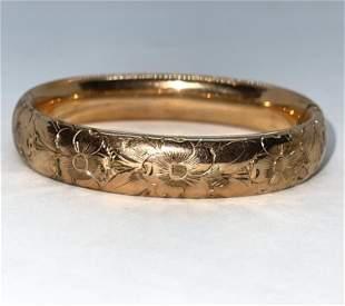VICTORIAN GOLD FILLED FLORAL BANGLE