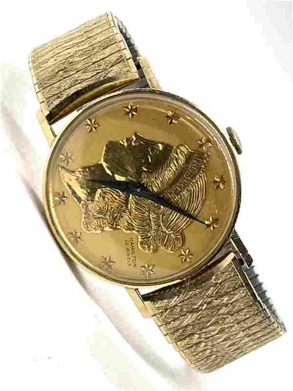 14K GOLD HAMILTON 22J LIBERTY GOLD COIN MENS WRISTWATCH