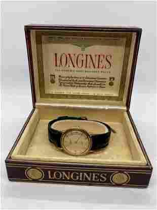 MENS LONGINES 14K GOLD WRISTWATCH IN ORIG. BOX