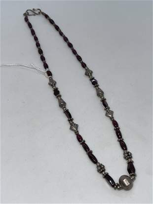 VICTORIAN STERLING SILVER AMETHYST COCKTAIL NECKLACE