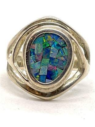 ESTATE STERLING SILVER OPAL COCKTAIL RING SZ 8