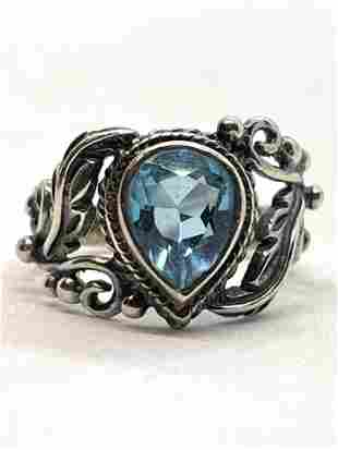 STERLING SILVER 1 CT BLUE STONE COCKTAIL RING SZ 7