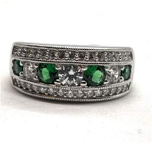 STERLING SILVER GREEN/WHITE STONES COCKTAIL BAND SZ 8.5