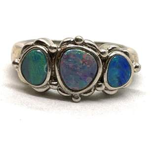 STERLING SILVER OPAL COCKTAIL RING SZ 6.5