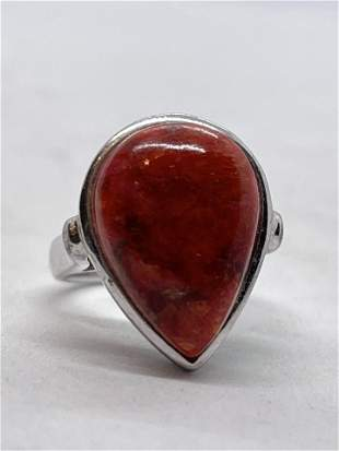 ESTATE STERLING SILVER 3 CT RED STONE COCKTAIL RING SZ