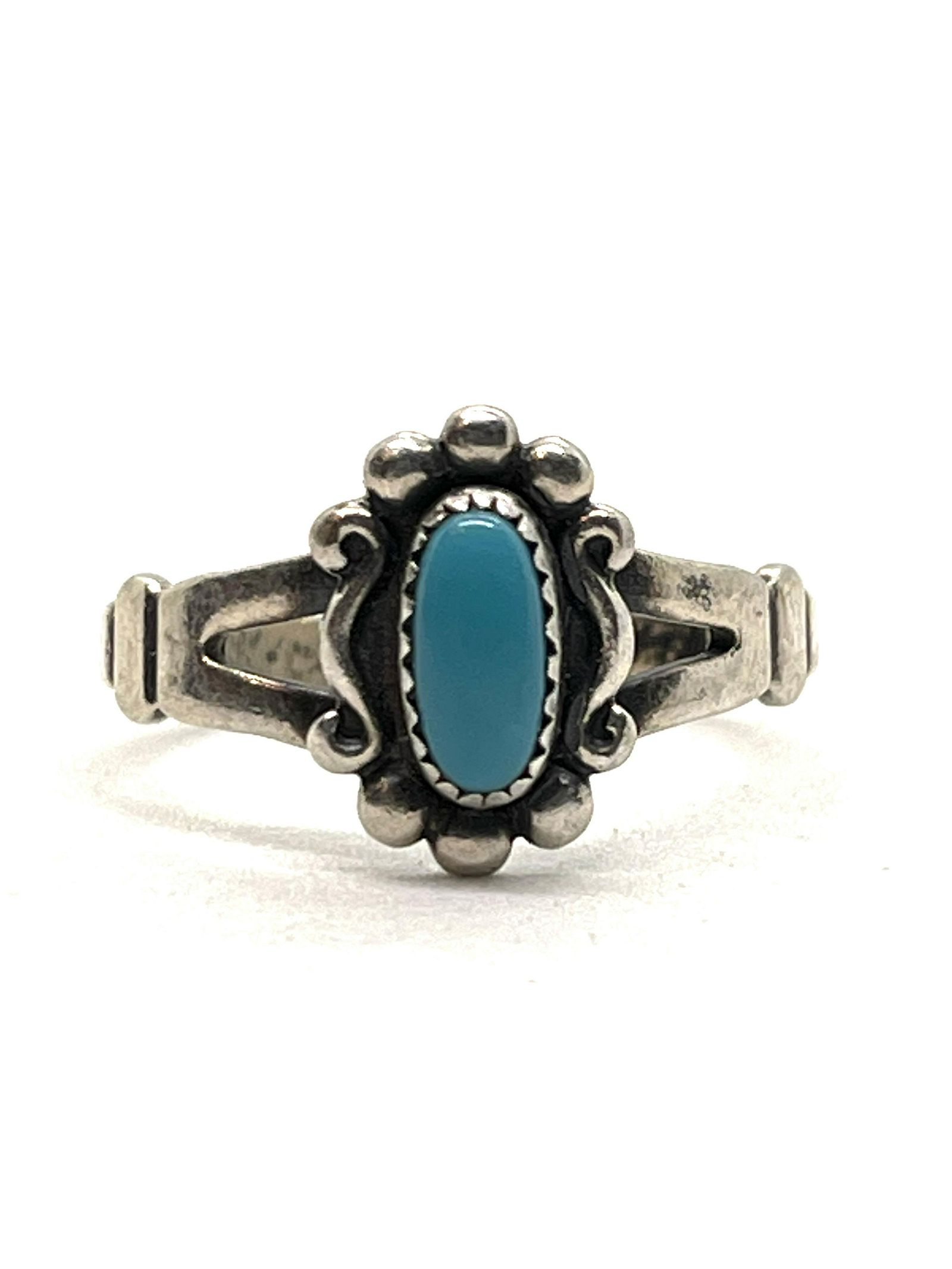 NATIVE AMERICAN TURQUOISE STERLING SILVER RING SZ 7