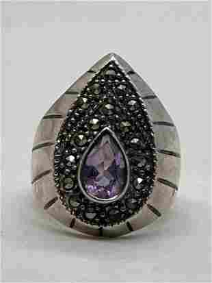 STERLING SILVER AMETHYST COCKTAIL RING SZ 7